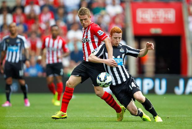 Southampton's Steven Davis (left) and Newcastle United's Jack Colback