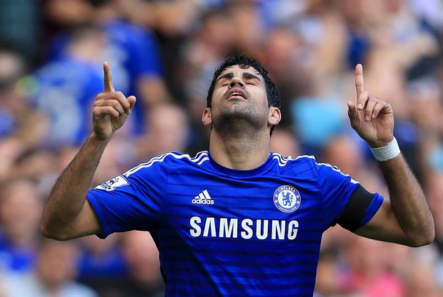 Chelsea's Diego Costa celebrates scoring his side's second goal during the Barclays Premier League match