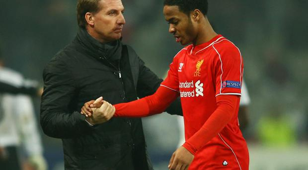 Raheem Sterling with Brendan Rodgers