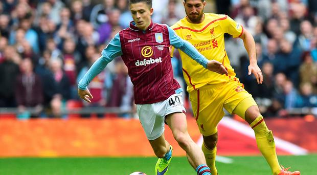 Jack Grealish in action during the FA Cup semi-final win against Liverpool