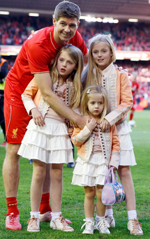 Steven Gerrard with his children after the game yesterday