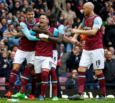 West Ham United's Mauro Zarate celebrates scoring his first goal in yesterday's victory over Chelsea