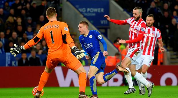 Jamie Vardy sweeps past Stoke keeper Jack Butland to score Leicester's second goal. Photo: Getty