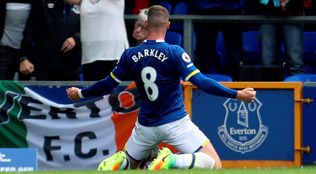 Everton's Ross Barkley celebrates scoring against Tottenham. Photo: PA