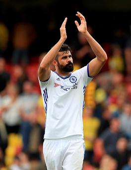 Diego Costa thanks the Chelsea fans Photo: PA