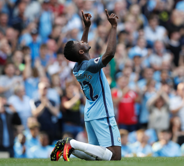 Manchester City's Kelechi Iheanacho celebrates scoring their second goal against Bournemouth yesterday. Photo: Reuters