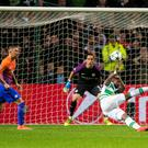 Moussa Dembele wrong-foots Manchester City goalkeeper Claudio Bravo to score Celtic's third goal just after half-time