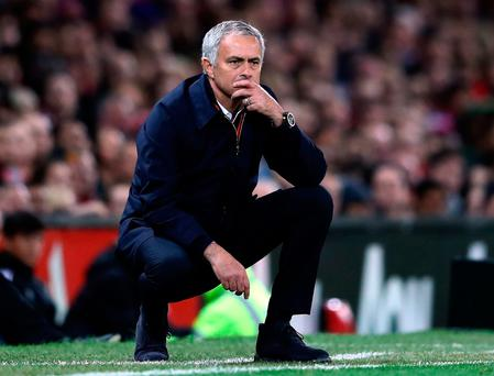 Jose Mourinho ponders his options during Manchester United's victory over Manchester City Picture: Getty
