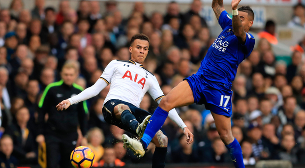 Tottenham Hotspur's Dele Alli (left) and Leicester City's Danny Simpson battle for the ball in the sides' draw at White Hart Lane. Photo: PA