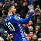 Eden Hazard celebrates scoring against Manchester City in a match that ended with ugly scenes as players clashed. Photo: Getty