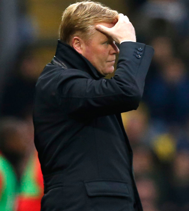 Ronald Koeman shows the strain as Everton's miserable run of form continues with a 3-2 defeat at Watford. Photo: Getty Images
