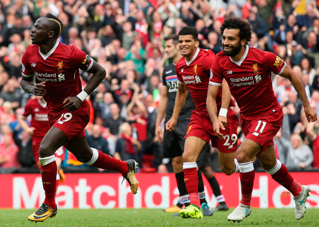 Sadio Mane of Liverpool celebrates scoring the only goal of the game against Crystal Palace at Anfield yesterday Photo: Getty