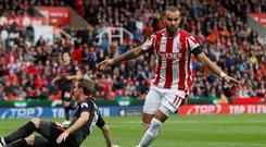 Jese Rodriguez scores the match-winner for Stoke against Arsenal Photo: Reuters