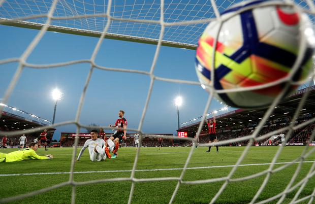 Chris Smalling opens the scoring for Manchester United against Bournemouth last night Photo: Reuters