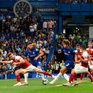 Chelsea's Marcos Alonso scores his side's third goal. Photo: AFP/Getty