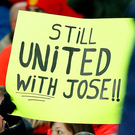 A sign last night in support of Jose Mourinho. Photo: PA