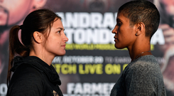 Katie Taylor and Cindy Serrano square off at a press conference in Fenway Park ahead of tomorrow's fight. Photo: Sportsfile