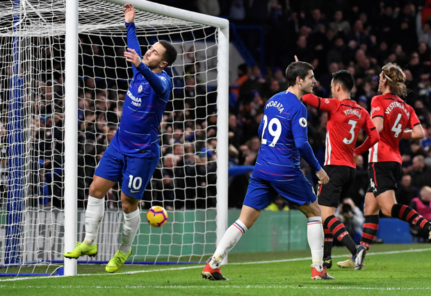 Feeling Blue: Chelsea duo Eden Hazard and Alvaro Morata react after having a late goal disallowed. Photo: Reuters