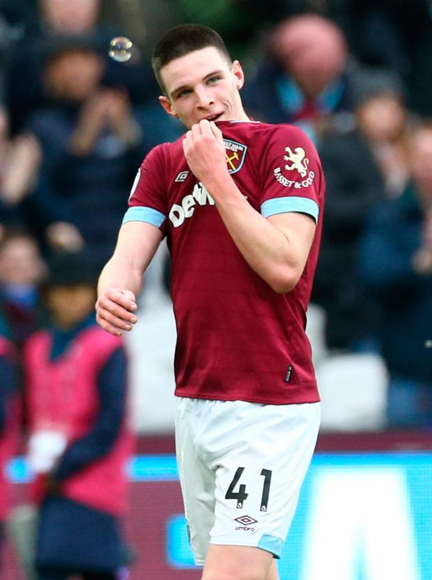 Declan Rice scored his first senior West Ham goal. Photo: PA