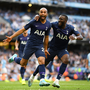 Lucas Moura and Tanguy Ndombele celebrate Moura's equaliser against Manchester City last Saturday, which earned Tottenham a share of the spoils at the Etihad Stadium. Photo: Shaun Botterill/Getty Images