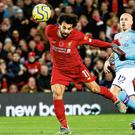 Mo-vember: Mo Salah heads Liverpool's second goal into the net despite the best efforts of Manchester City's Fernandinho. Photo: Action Images via Reuters/Carl Recine