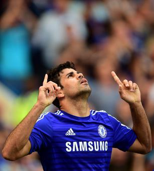 Chelsea's Diego Costa celebrates scoring the opening goal of the game