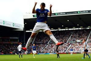 Everton's Kevin Mirallas celebrates his goal against West Brom