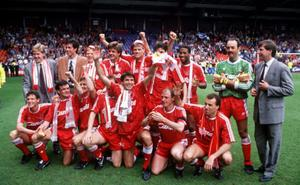 Red letter day: Liverpool players celebrate their 1990 First Division title victory