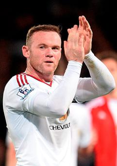 Manchester United's Wayne Rooney applauds the fans after the Barclays Premier League match at Selhurst Park
