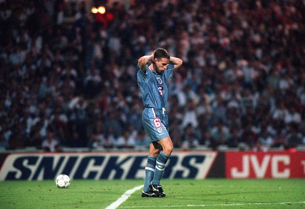 Southgate missed the decisive penalty as England were knocked out of Euro 96 at Wembley (PA Archive)