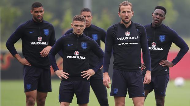 Kieran Trippier (front left) believes there is nobody better than Harry Kane (front right) to captain England (Nick Potts/PA)