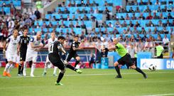 Lionel Messi sees his penalty saved by Hannes Halldorsson, not pictured (Adam Davy/EMPICS)