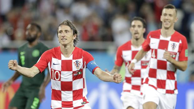 Captain Luka Modric, left, helped Croatia get off to a winning start at the 2018 World Cup. (Petr David Josek/AP)