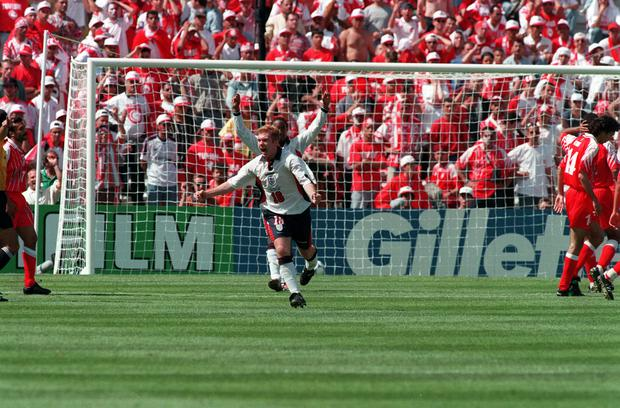 Paul Scholes was on target for England against Tunisia at France '98 (Adam Butler/PA)