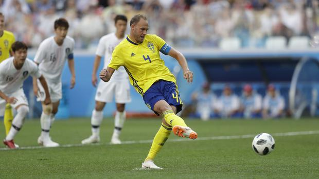 Andreas Granqvist scores the only goal (Petr David Josek/AP)