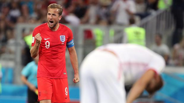 Harry Kane celebrates England's win (Owen Humphreys/PA)