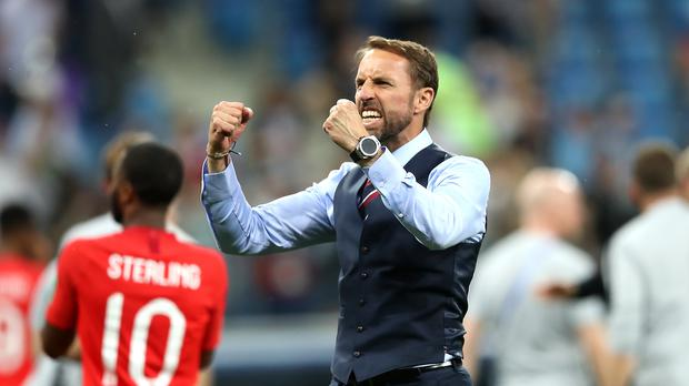 Gareth Southgate will need to temper any future celebrations after dislocating his shoulder (Adam Davy/PA)