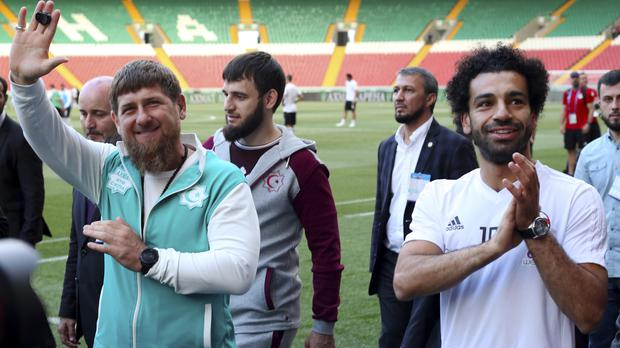 Mohamed Salah, right, has been given honorary citizenship in Chechnya by Ramzan Kadyrov, left (AP Photo)
