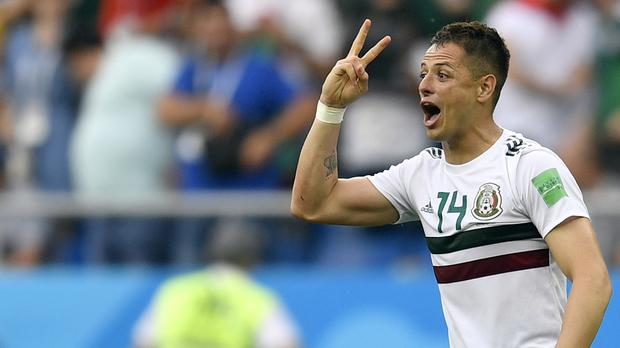 Mexico's Javier Hernandez celebrates after scoring his side's second goal during the group F match between Mexico and South Korea at the 2018 soccer World Cup in the Rostov Arena in Rostov-on-Don, Russia, Saturday, June 23, 2018. (AP Photo/Martin Meissner)
