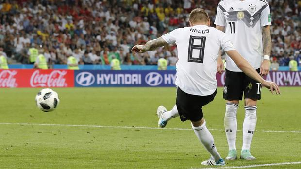 Toni Kroos, scored a winner deep into five minutes of added time to boost Germany's World Cup hopes (Credit: Frank Augstein/AP).