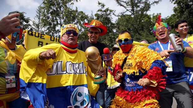 Colombia fans have travelled in big numbers and have added a dash of colour to the World Cup finals (Adam Davy/PA)