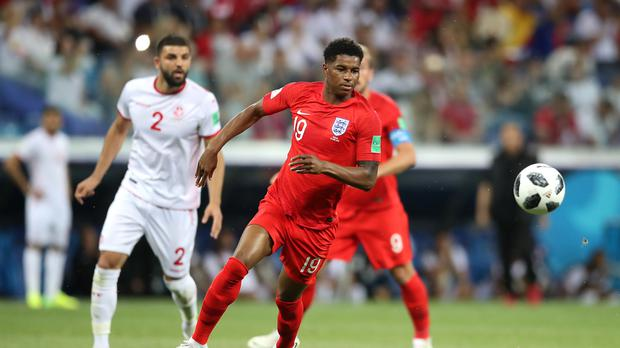 Marcus Rashford made his first start for England in Russia as one of eight changes (Adam Davy/PA)