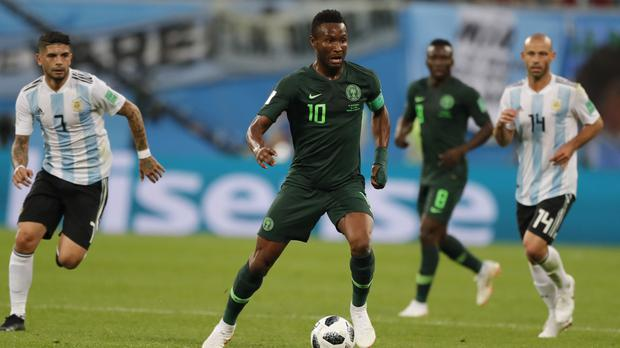 Nigeria captain John Obi Mikel was given the news about his father's kidnapping shortly ahead of the match against Argentina (Ricardo Mazalan/AP)