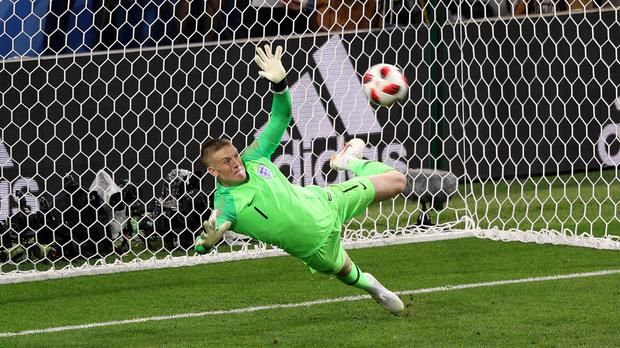 England goalkeeper Jordan Pickford saves Carlos Bacca's penalty for Colombia. (Aaron Chown/PA)