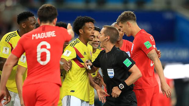 Colombia were unhappy with referee Mark Geiger (Adam Davy/PA)