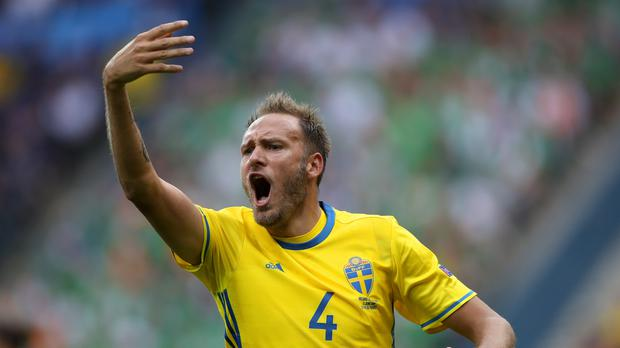 Sweden's Andreas Granqvist is determined to face England. (John Walton/PA)