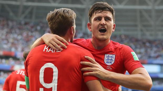 Harry Maguire celebrates scoring England's first goal (Owen Humphreys, PA).
