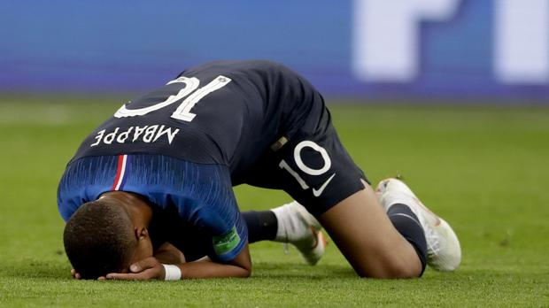 France's Kylian Mbappe celebrates after the World Cup semi-final victory over Belgium (Petr David Josek/AP)