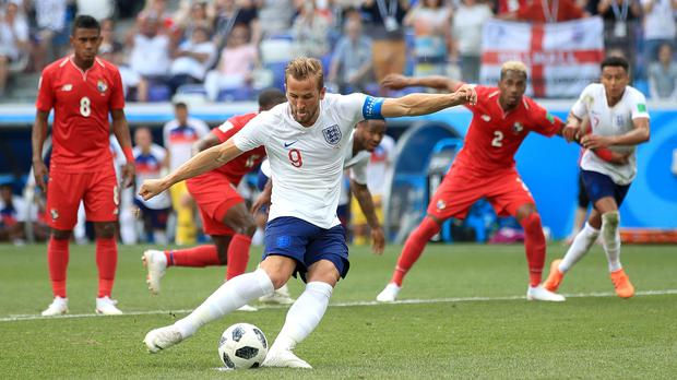 Harry Kane scores a penalty against Panama (Adam Davy/PA)