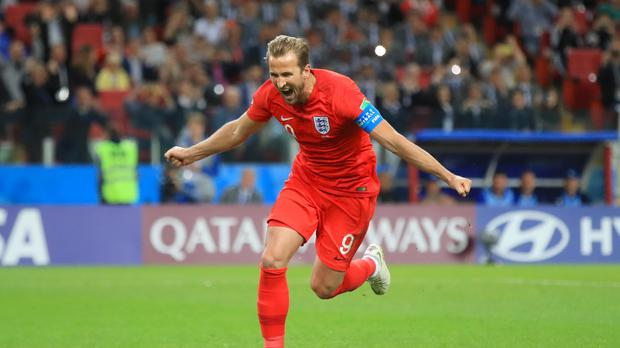England's Harry Kane celebrates scoring his side's first goal of the game from the penalty spot during the FIFA World Cup 2018, round of 16 match at the Spartak Stadium, Moscow.